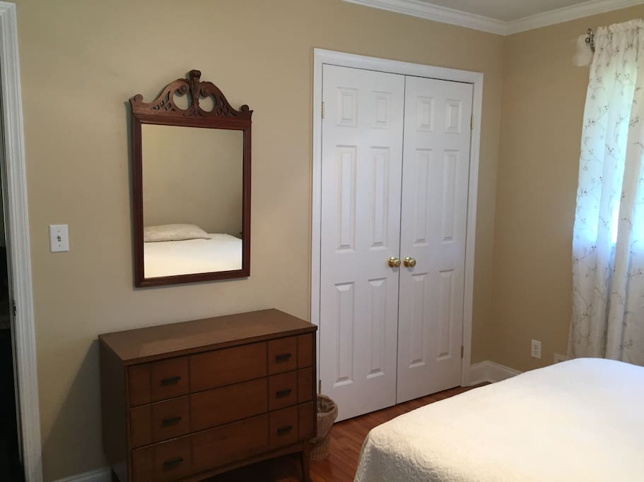 Bedroom, dresser and closet