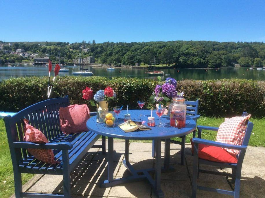 out side dining area at 'Sea Haven ' with views of nearby Castletownshend in Castlehaven Harbour