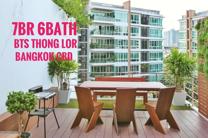 7BR 6Bath BTS ThongLor 4Min-Walk(300m) Bangkok CBD - Khet Watthana - Villa