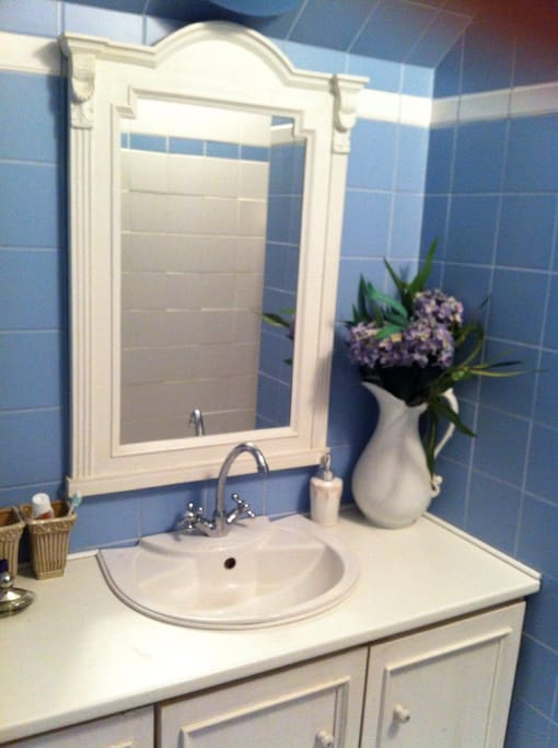 Cozy private bathroom with shower in nice blue colors