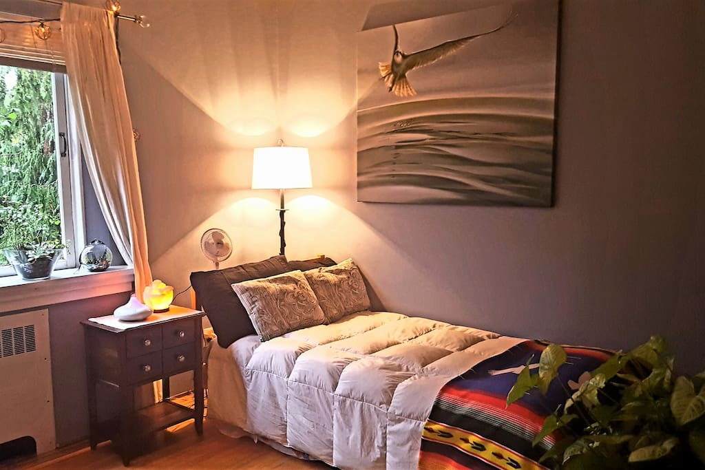 Your Zen Den with a Single Comfy Bed Note: Sometimes the bedding changes to different colours, styles and blankets