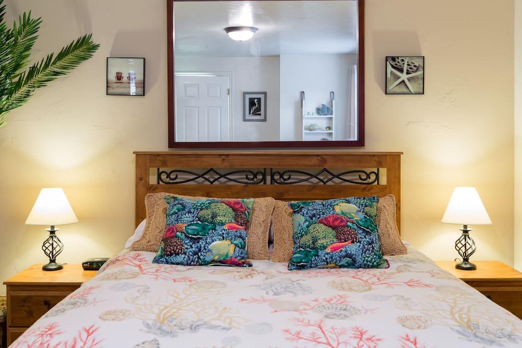 Hawaii Beachy Big Bedroom that you will sleep like a log in!