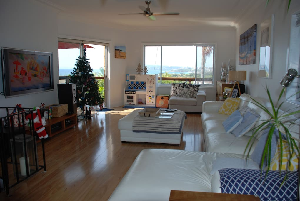 living room with views to beach