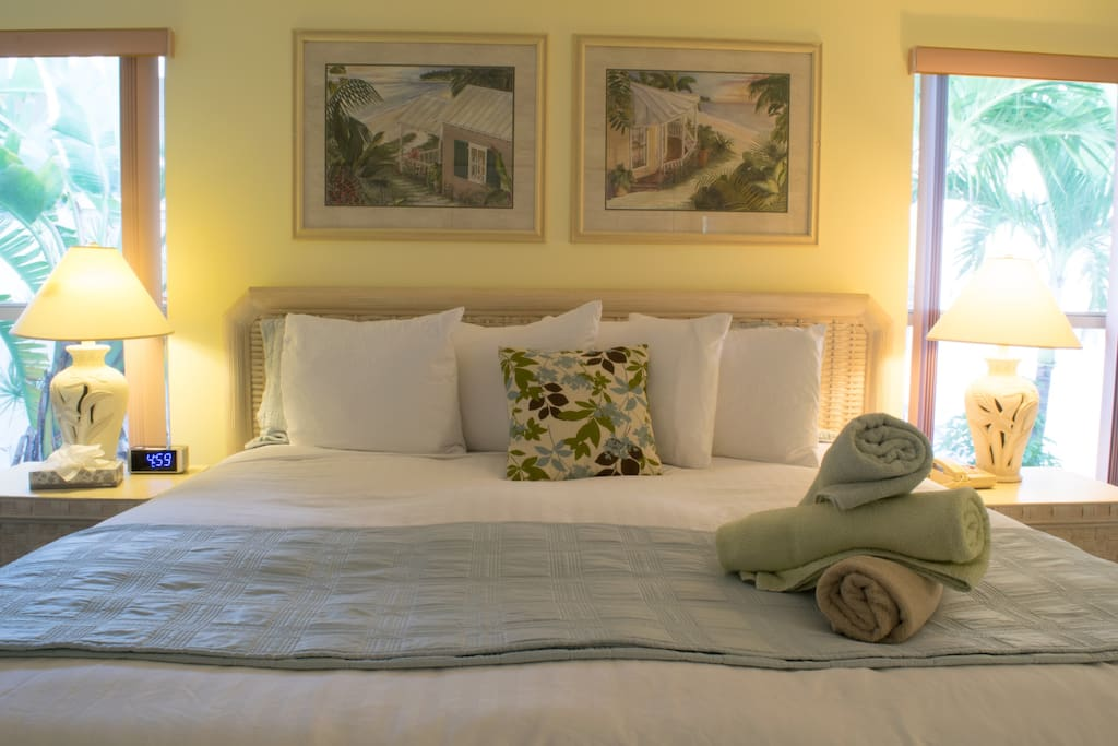 Master bedroom with a king bed and crisp 400 thread count linens.