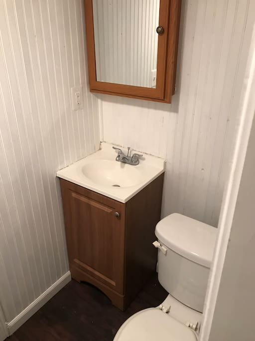 Clean bathroom with big shower.