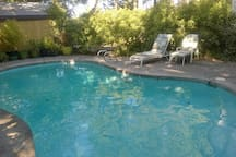 The pool is a relaxing place to hang out during the summer months.