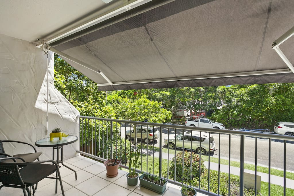 Balcony with retractable awning