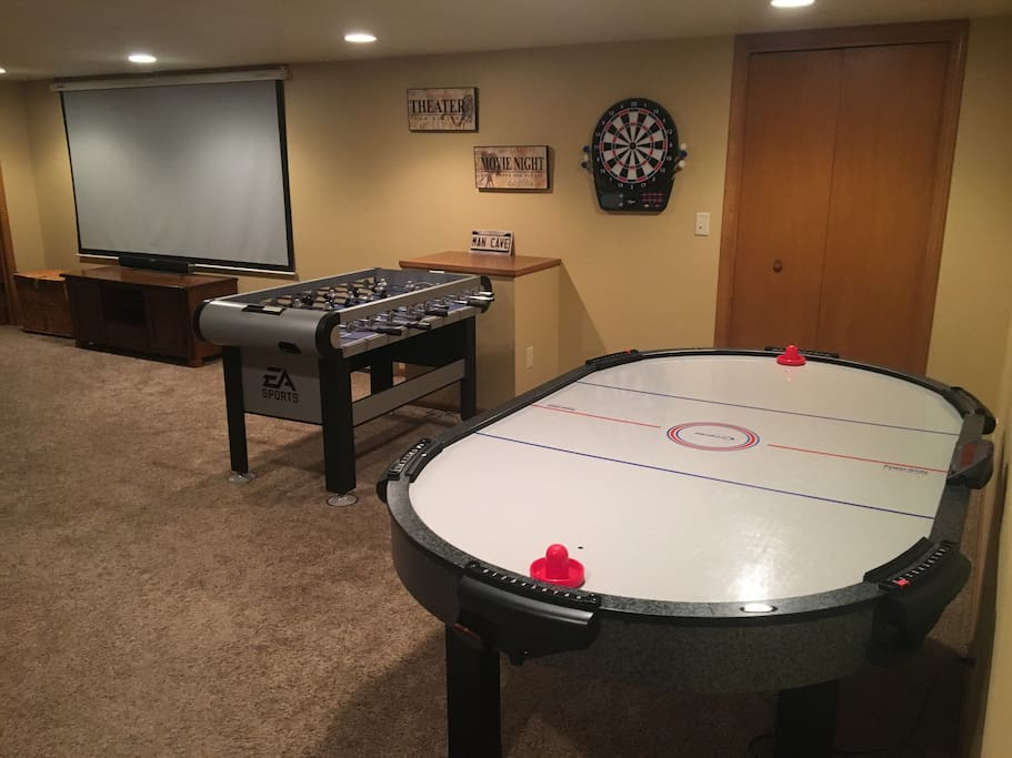Air hockey, darts, and foosball.  Plus a closet full of toys and games.