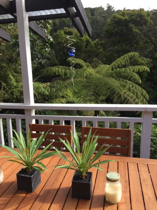 Beautiful native bush views from sunny and private rear  deck