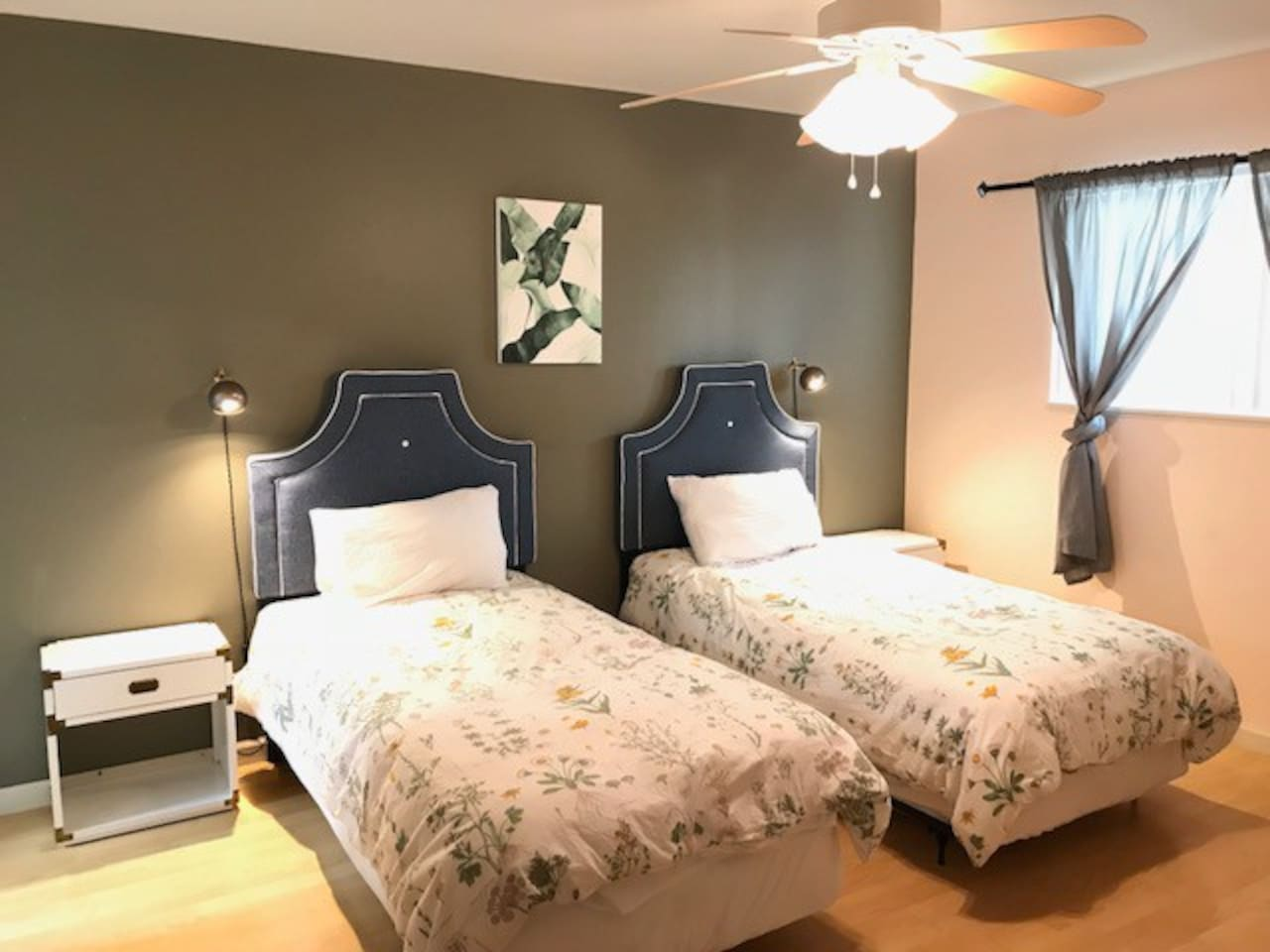 Twin Beds with Overhead Fan