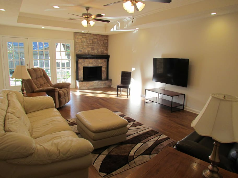 TV and Fireplace in Den