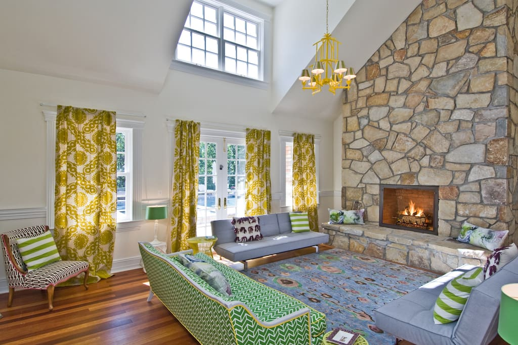 Family room with convertible sofas.
