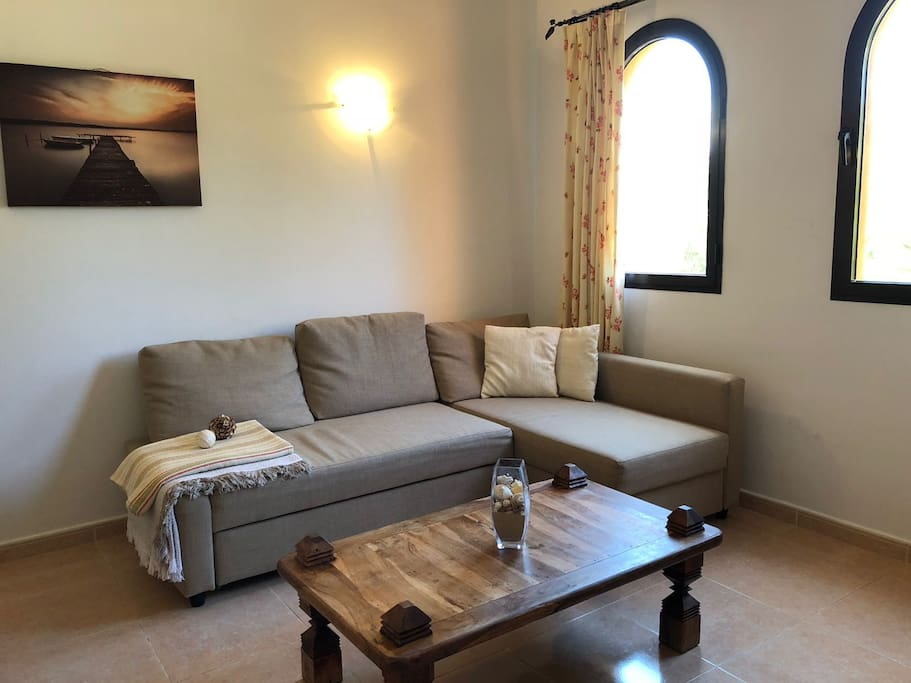 Pull out sofa bed in the sitting area