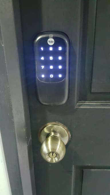 We have a digital lock installed. No keys needed just enter your code to open the door. You may check in any time of the day.