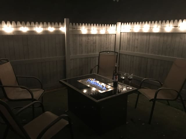 Nighttime Courtyard View of Propane Fire Table