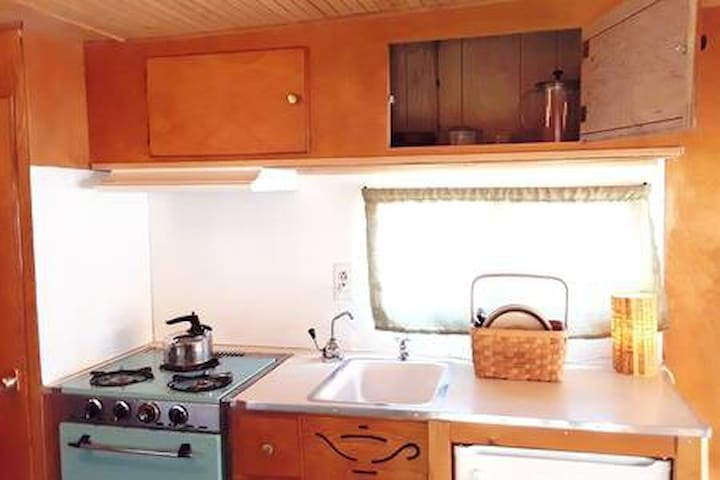 Backyard 1960s Vintage Camper Travel Trailer