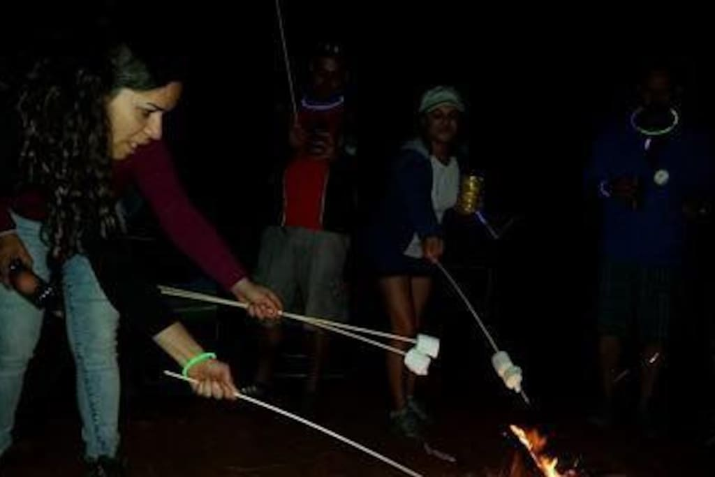 Camping, fogata