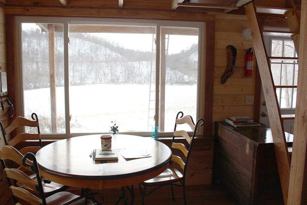 Your view from the dining room table. A great place to watch grazing deer and turkeys, or geese, hawks, ducks and bald eagles flying up and down Buffalo Creek.