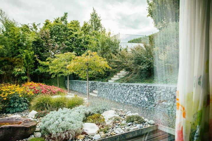 Stone garden in front of Garden Room