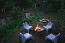 Steel fire pit by the creek