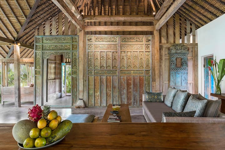 View to the carved panel from Madura and entrance to bedroom..