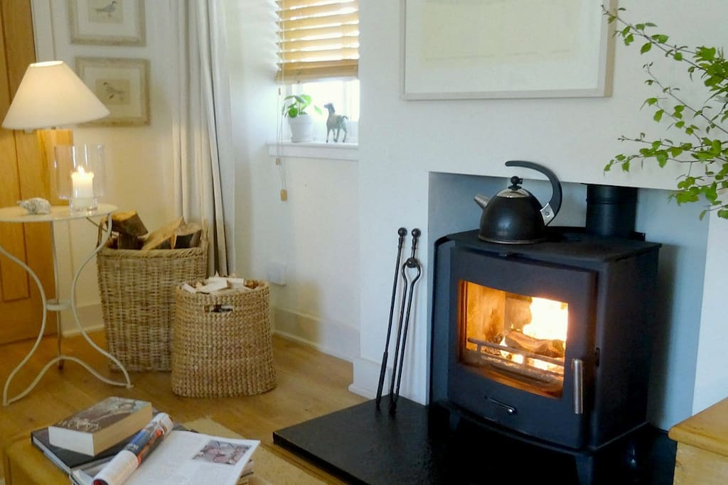 Sitting/Dining room with woodburning stove