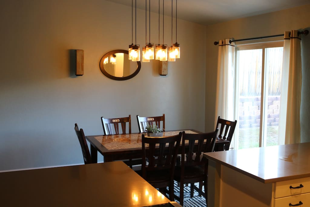 Dining room with back yard access.