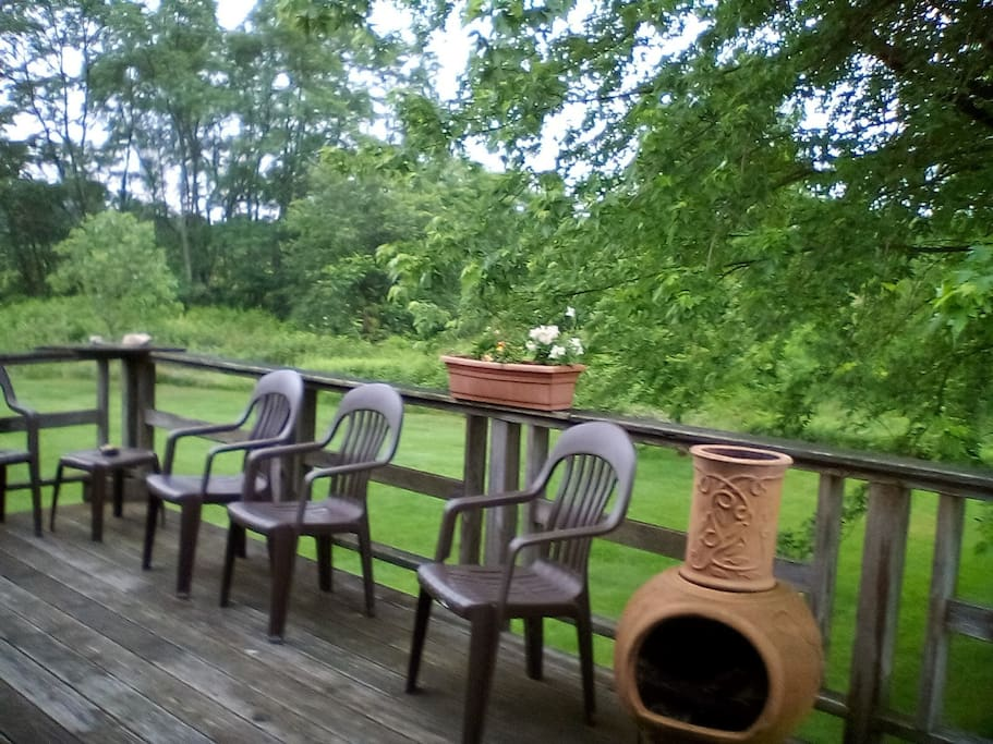 Wrap around deck with a Chiminea for outdoor fires