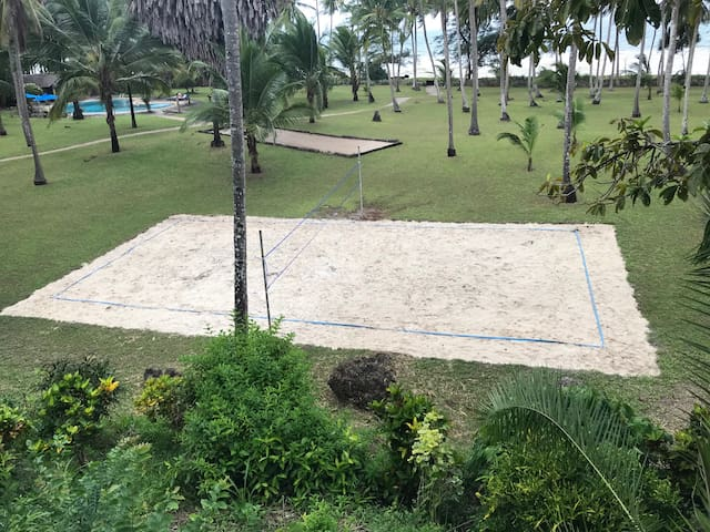 Full size beach volleyball court and full size petanque court