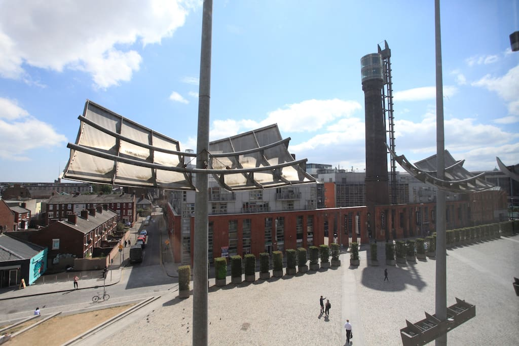 The views from our window of the historic Jameson Whiskey Distillery and the famous Smithfield Square.