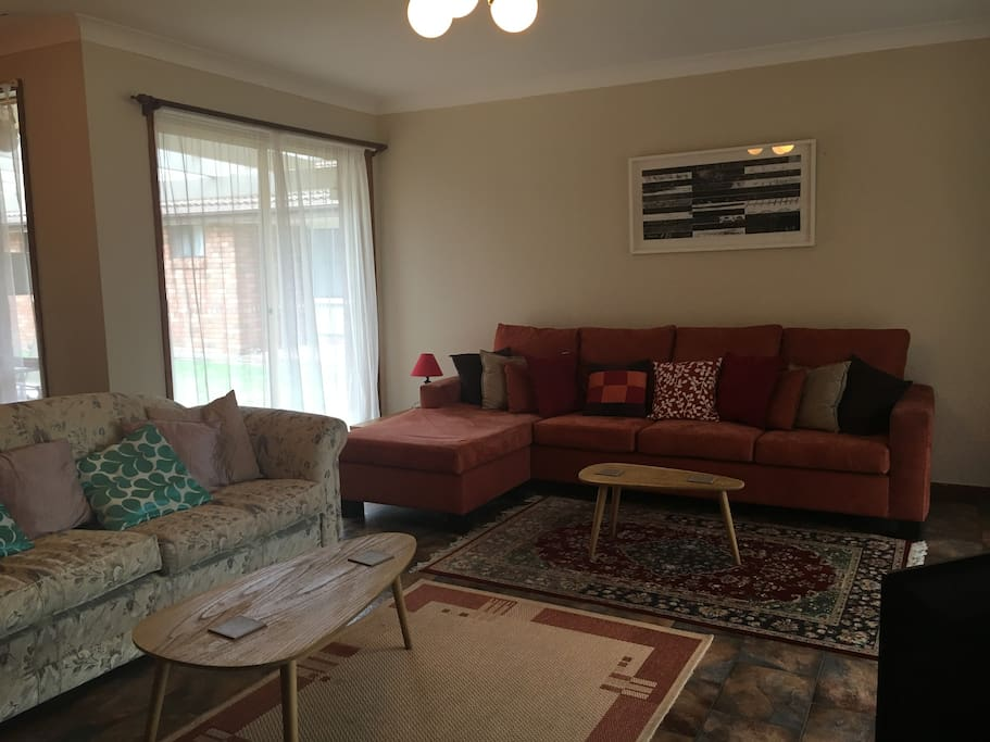 Large and comfortable lounge room with TV, DVD and Foxtel