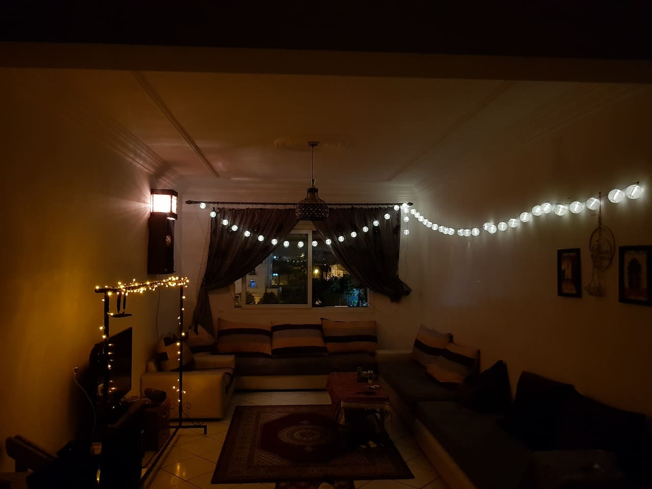 The living room is an open space where you can watch tv , smoke for example . We have also WIFI in case you wanna browse on your laptop , phone...