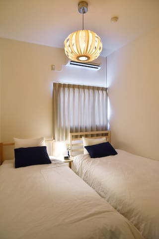 Bedroom 1  2 single beds (90cm)