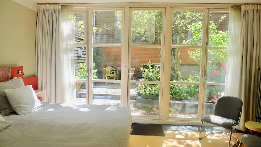 opening doors to garden