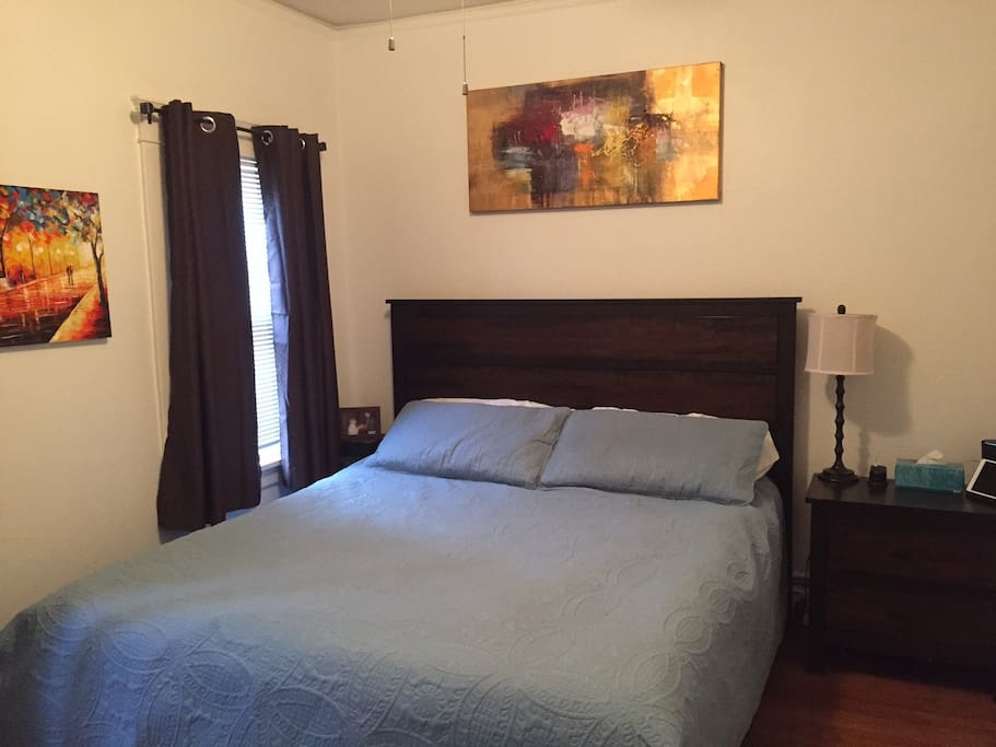King size bed in main bedroom plus black out curtains and large closet.