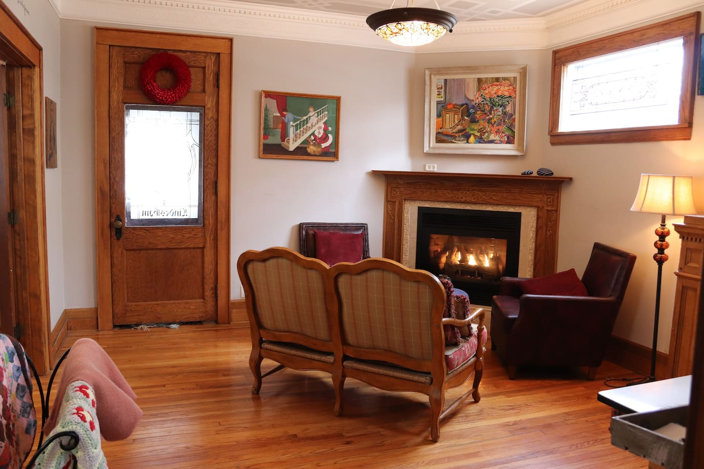 Upon walking in you will see a gas fireplace, stained-glass windows and a coffee bar.