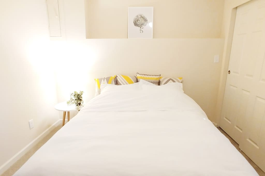 Bright white fresh linens with modern accents