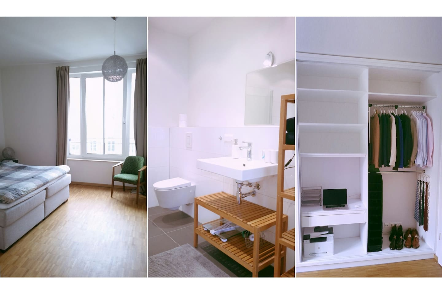 Spacious room, private bathroom and wardrobe/work space.