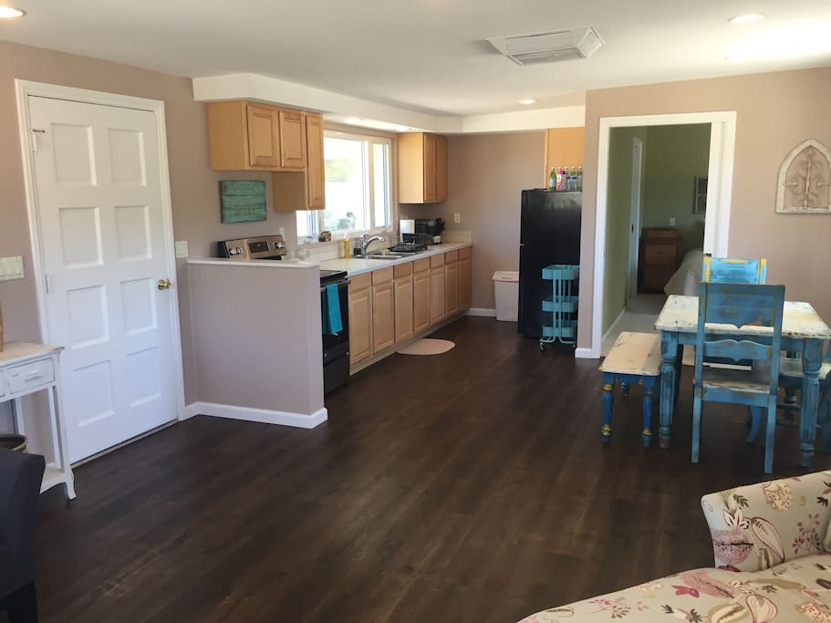 All new appliances and floors. Email us your shopping list and we can have everything in its place for your arrival!