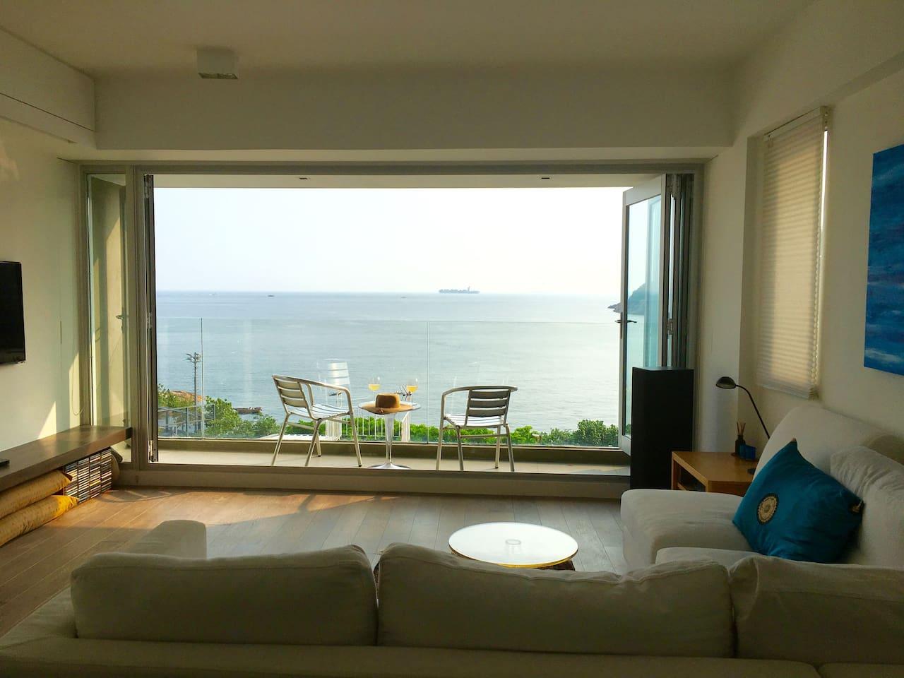 Family room with balcony.