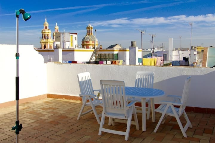 Apartment historic center, private terrace + WiFi