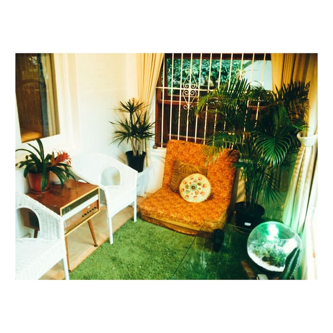 The Green Room - full of light and beautiful indoor plants. This space is cosy and relaxing.
