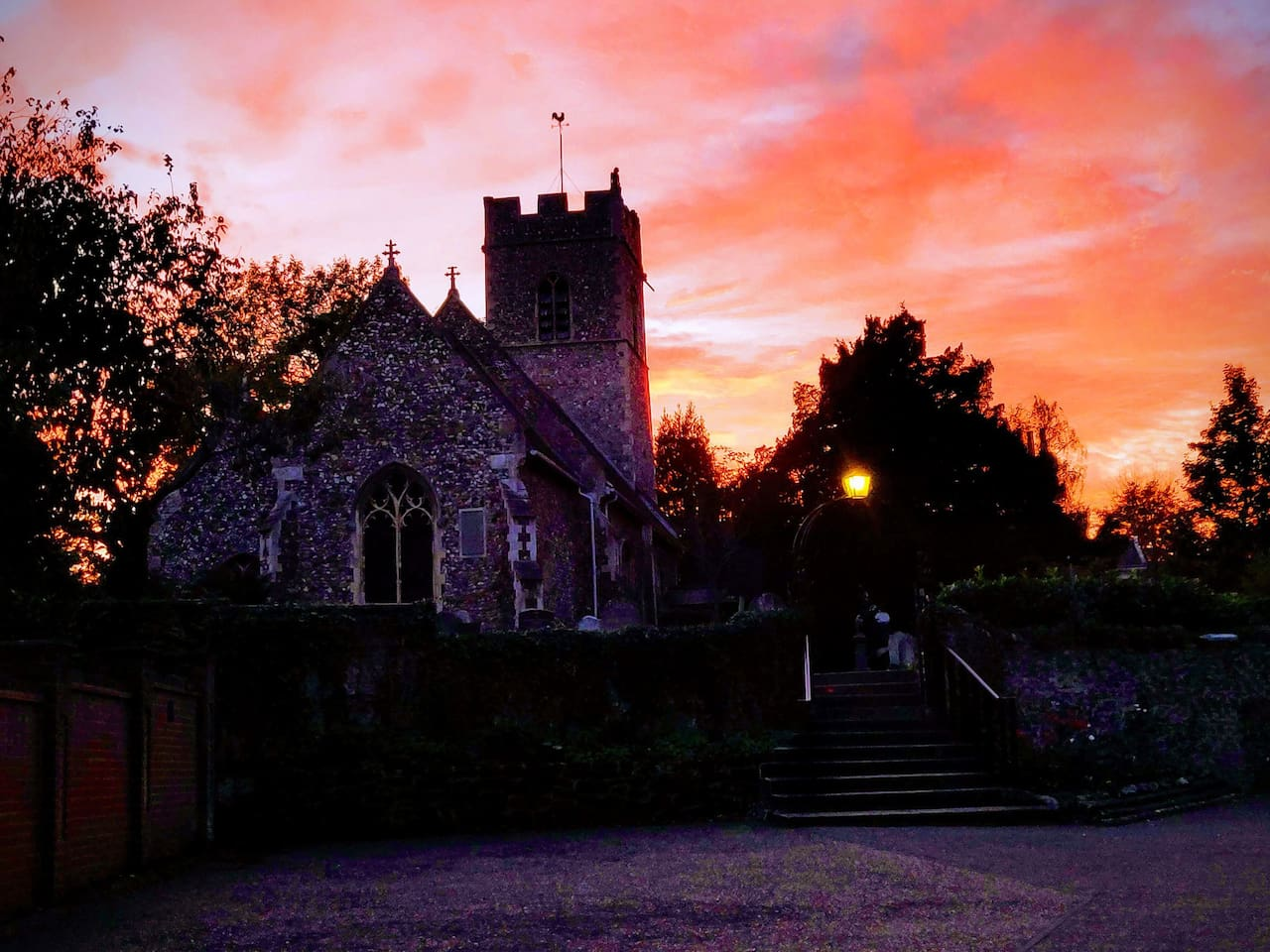 Local Church At Sunset