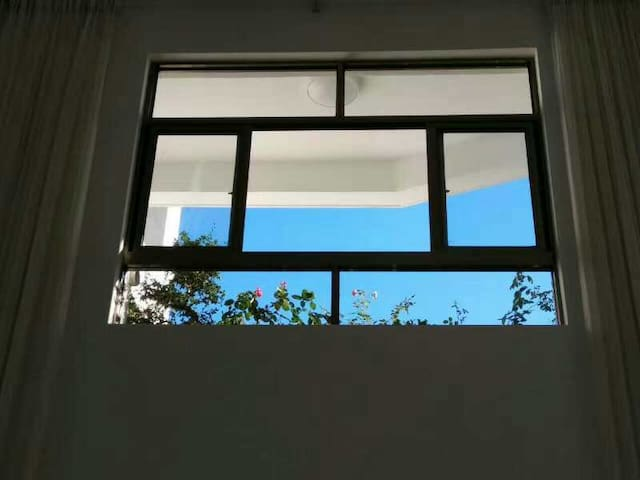 在客厅抬头望见二楼的蓝天、飘逸的花草。
