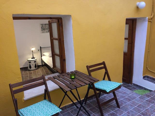 Popi's apartment.