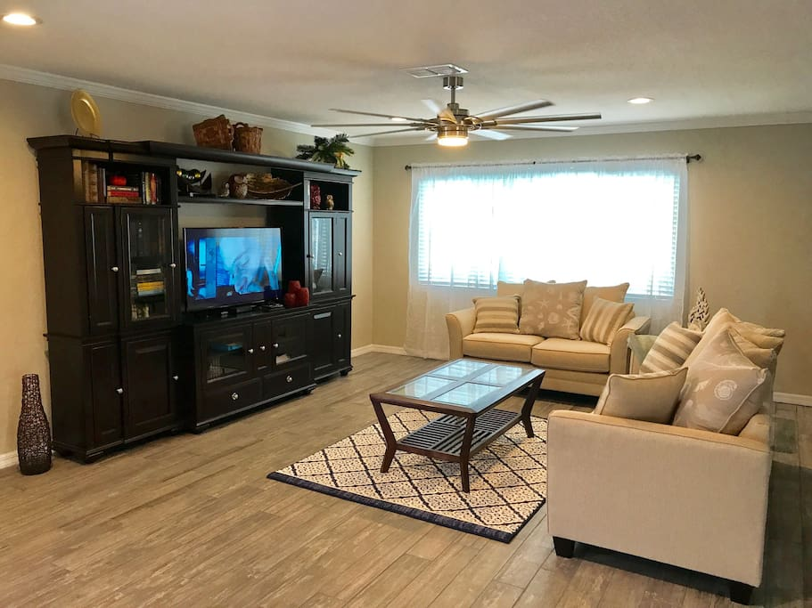 "Living room with 48"" flat screen TV"