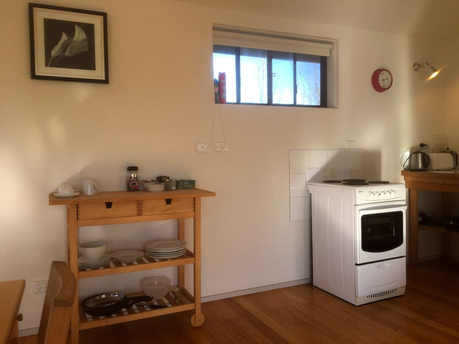 Plates, bowls, utensils, cups, coffee and tea are all available in the Rainbow Cottage
