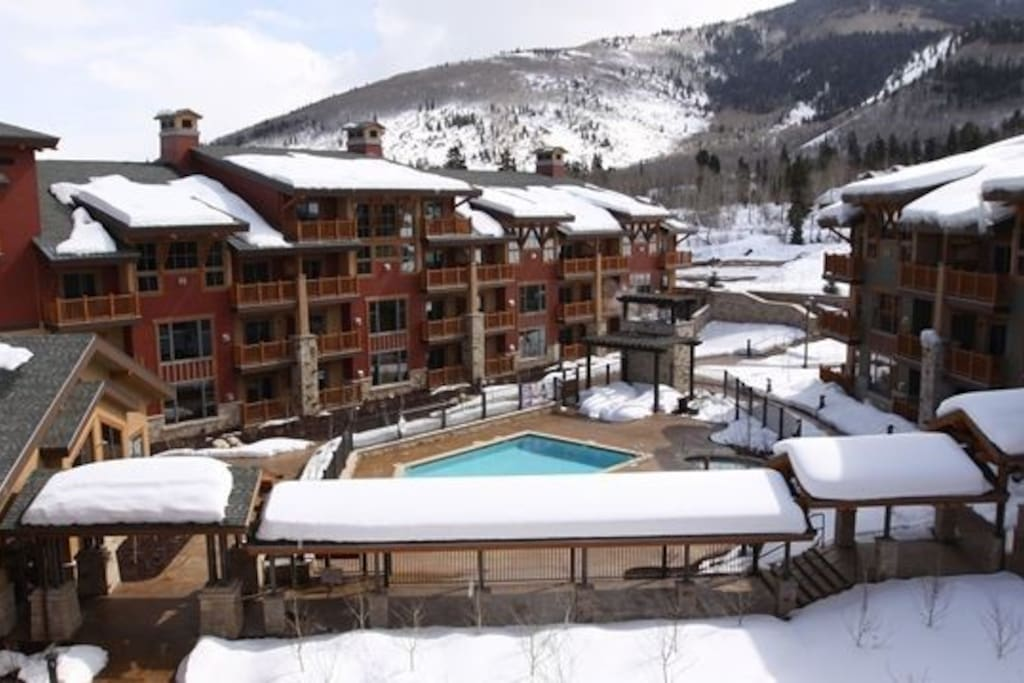 """Central Court Yard with some of the 355"""" average snow"""