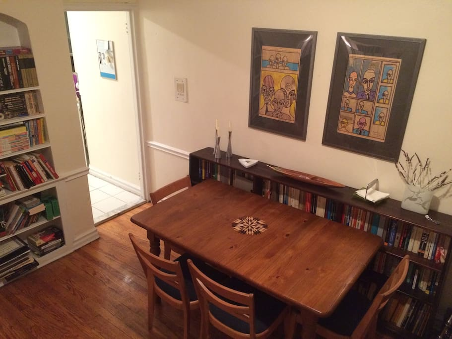 Dining room. Seating for 4. 2 more with wooded folding chairs in closet.