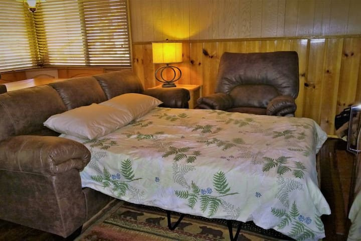 Easy full size fold away bed that can be pulled out with minimal moving of furniture.